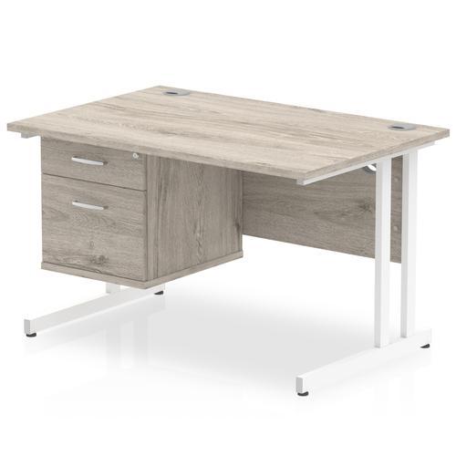 Impulse 1200 Rectangle White Cant Leg Desk Grey Oak 1 x 2 Drawer Fixed Ped