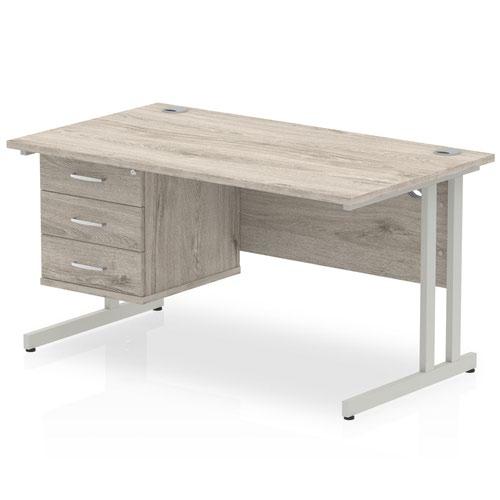 Impulse 1400 Rectangle Silver Cant Leg Desk Grey Oak 1 x 3 Drawer Fixed Ped