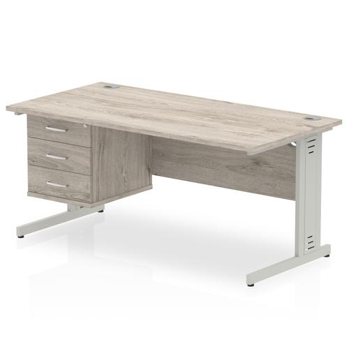 Impulse 1600 Rectangle Silver Cable Managed Leg Desk Grey Oak 1 x 3 Drawer Fixed Ped