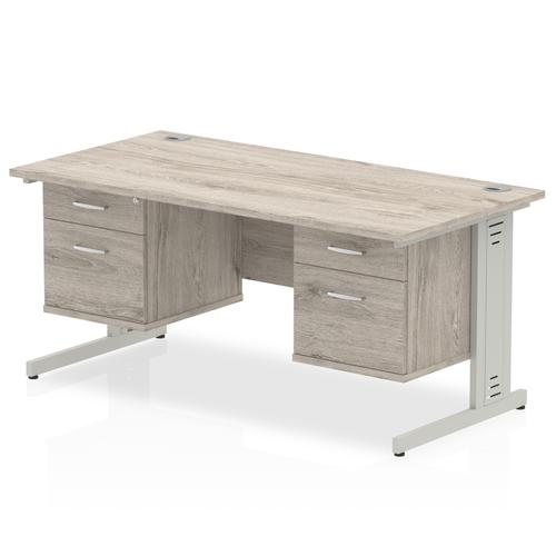Impulse 1600 Rectangle Silver Cable Managed Leg Desk Grey Oak 2 x 2 Drawer Fixed Ped