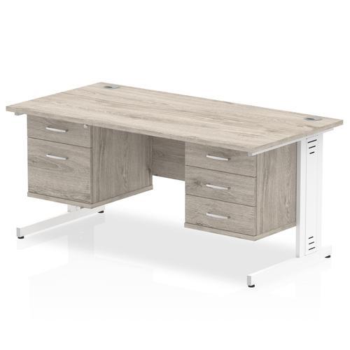 Impulse 1600 Rectangle White Cable Managed Leg Desk Grey Oak 1 x 2 Drawer 1 x 3 Drawer Fixed Ped