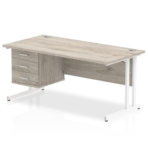 Impulse 1600 Rectangle White Cant Leg Desk Grey Oak 1 x 3 Drawer Fixed Ped