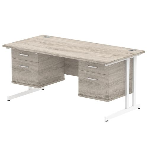 Impulse 1600 Rectangle White Cant Leg Desk Grey Oak 2 x 2 Drawer Fixed Ped