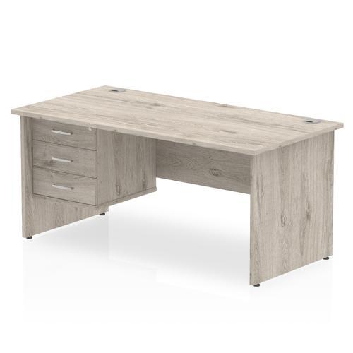 Impulse 1800 Rectangle Panel End Leg Desk Grey Oak 1 x 3 Drawer Fixed Ped