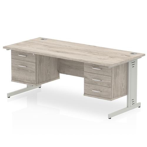 Impulse 1800 Rectangle Silver Cable Managed Leg Desk Grey Oak 1 x 2 Drawer 1 x 3 Drawer Fixed Ped