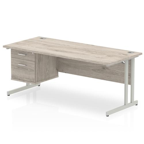 Impulse 1800 Rectangle Silver Cant Leg Desk Grey Oak 1 x 2 Drawer Fixed Ped