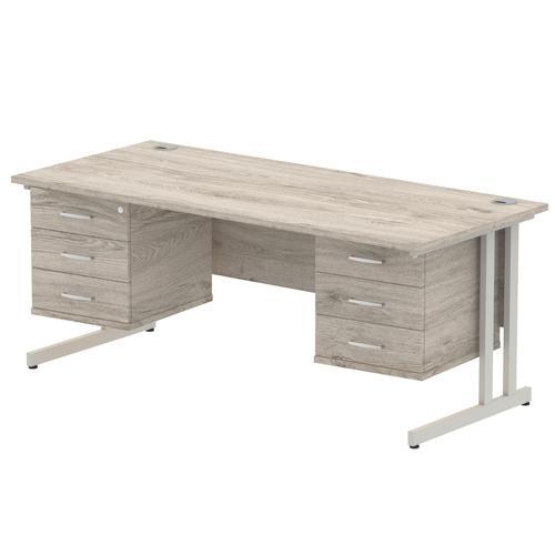 Impulse 1800 Rectangle Silver Cant Leg Desk Grey Oak 2 x 3 Drawer Fixed Ped