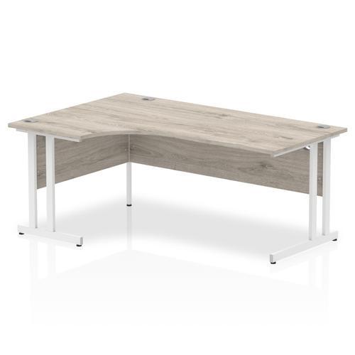 Impulse 1800 Left Hand White Crescent Cantilever Leg Desk Grey Oak