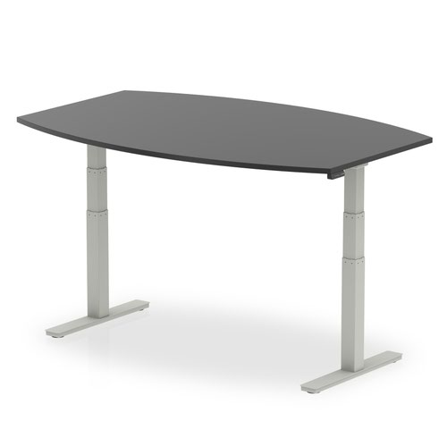 High Gloss 1800mm Writable Boardroom Table Black Top Silver Height Adjustable Leg