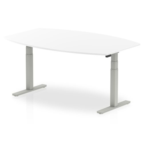 High Gloss 1800mm Writable Boardroom Table White Top Silver Height Adjustable Leg