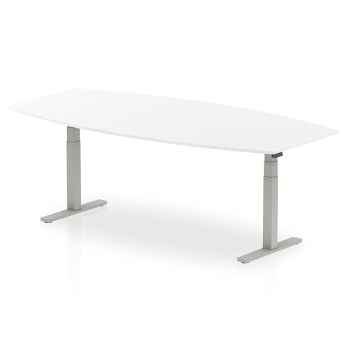 High Gloss 2400mm Writable Boardroom Table White Top Silver Height Adjustable Leg