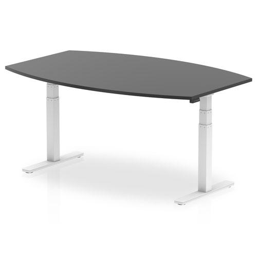 High Gloss 1800mm Writable Boardroom Table Black Top White Height Adjustable Leg