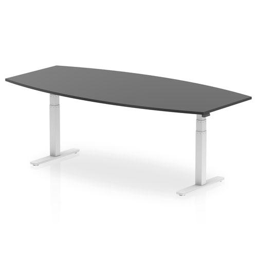 High Gloss 2400mm Writable Boardroom Table Black Top White Height Adjustable Leg