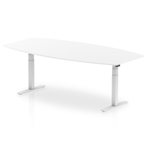 High Gloss 2400mm Writable Boardroom Table White Top White Height Adjustable Leg