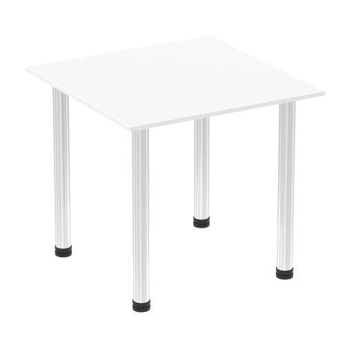 Impulse 800mm Square Table White Top Chrome Post Leg