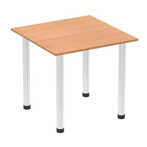 Impulse 800mm Square Table Oak Top Chrome Post Leg