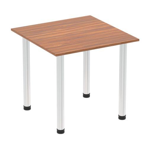 Impulse 800mm Square Table Walnut Top Chrome Post Leg