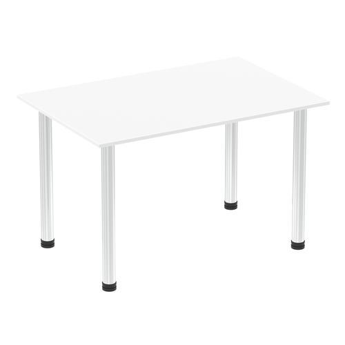 Impulse 1200mm Straight Table White Top Chrome Post Leg
