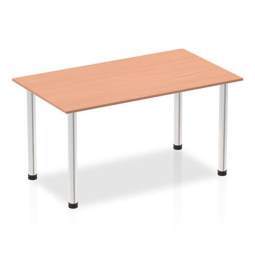 Impulse 1400mm Straight Table Beech Top Chrome Post Leg