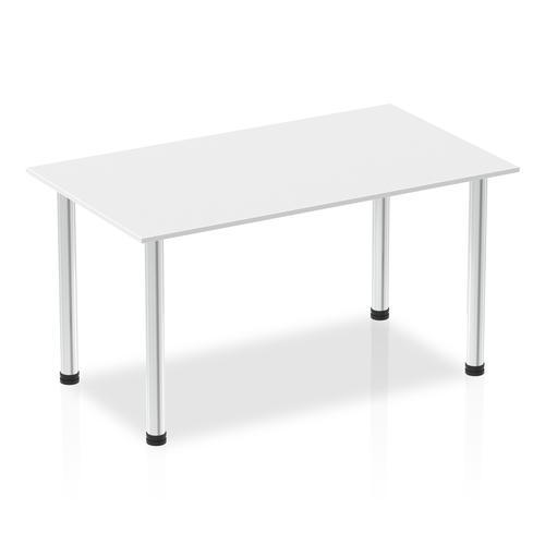 Impulse 1400mm Straight Table White Top Chrome Post Leg
