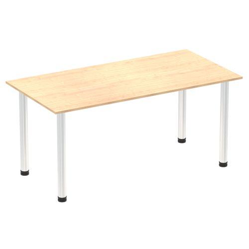 Impulse 1600mm Straight Table Maple Top Chrome Post Leg
