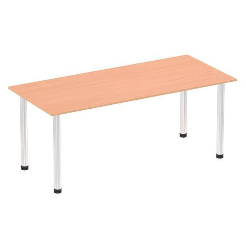 Impulse 1800mm Straight Table Beech Top Chrome Post Leg I003598