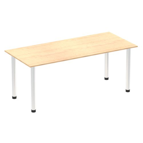 Impulse 1800mm Straight Table Maple Top Chrome Post Leg