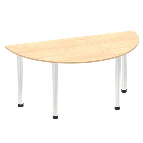 Impulse 1600mm Semi-Circle Table Maple Top Chrome Post Leg