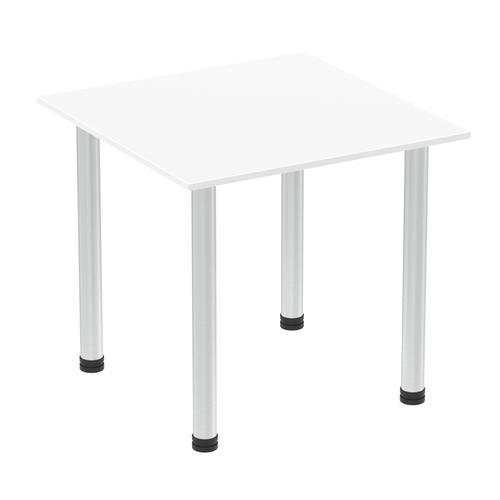 Impulse 800mm Square Table White Top Aluminium Post Leg I003627