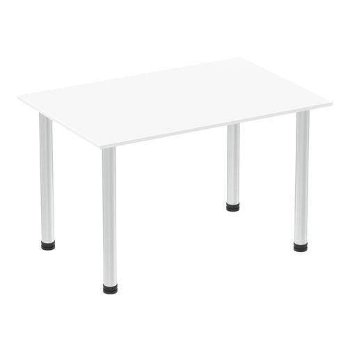 Impulse 1200mm Straight Table White Top Brushed Aluminium Post Leg