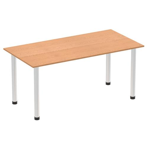 Impulse 1600mm Straight Table Oak Top Brushed Aluminium Post Leg I003643
