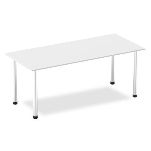 Impulse 1800mm Straight Table White Top Brushed Aluminium Post Leg I003647