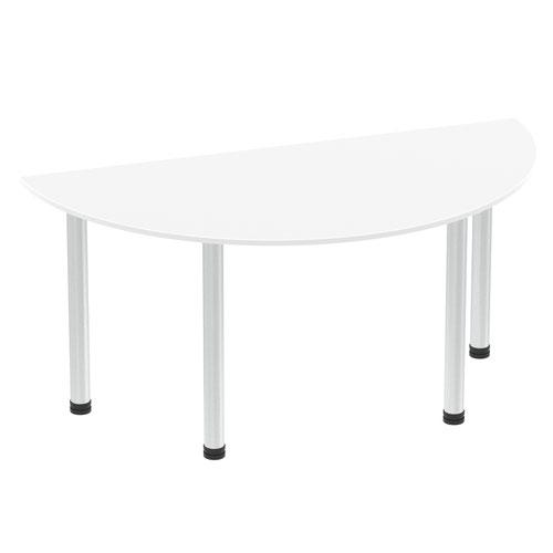 Impulse 1600mm Semi-Circle Table White Top Brushed Aluminium Post Leg