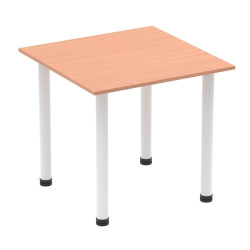 Impulse 800mm Square Table Beech Top White Post Leg I003674