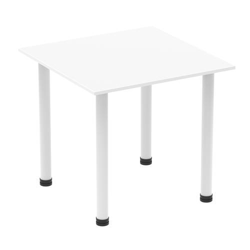Impulse 800mm Square Table White Top White Post Leg