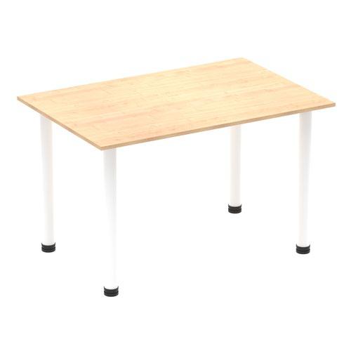 Impulse 1200mm Straight Table Maple Top White Post Leg