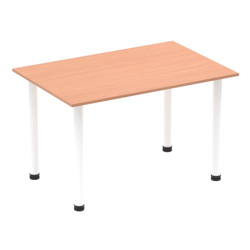 Impulse 1400mm Straight Table Beech Top White Post Leg