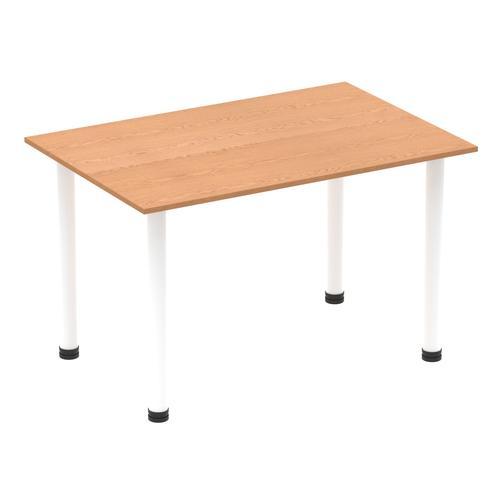 Impulse 1400mm Straight Table Oak Top White Post Leg I003685