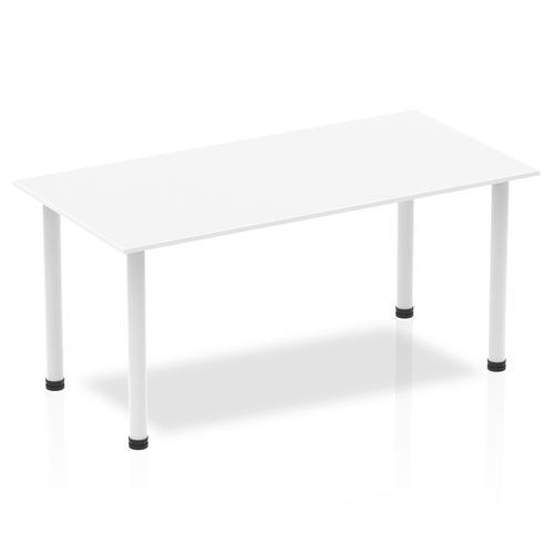 Impulse 1600mm Straight Table White Top White Post Leg I003690