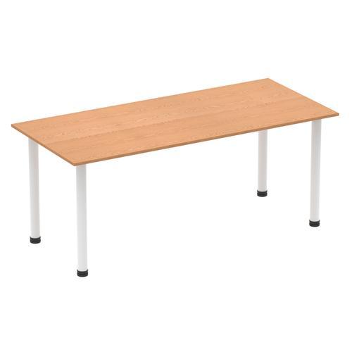 Impulse 1800mm Straight Table Oak Top White Post Leg I003696