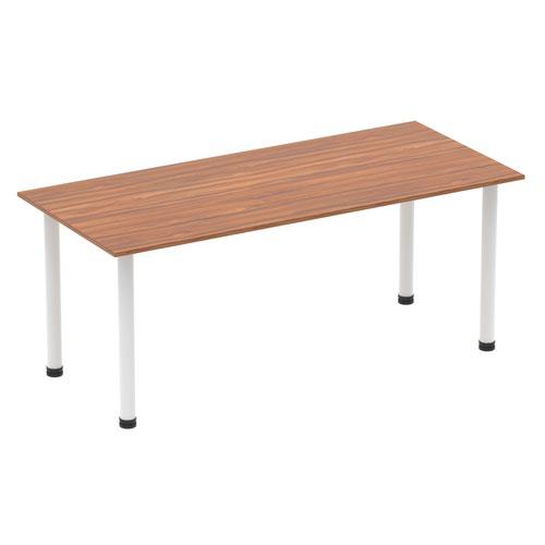 Impulse 1800mm Straight Table Walnut Top White Post Leg