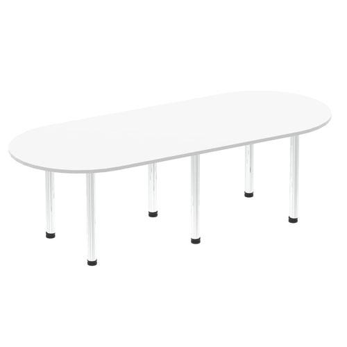 Impulse 2400mm Boardroom Table White Top Chrome Post Leg