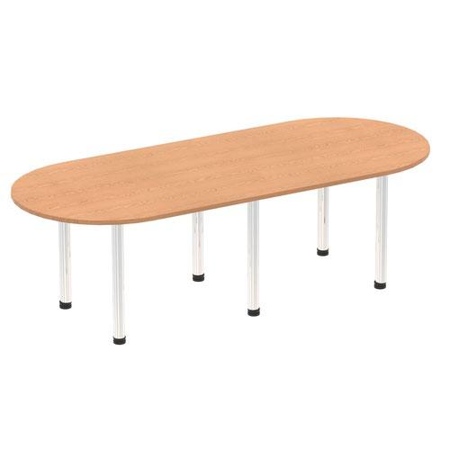 Impulse 2400mm Boardroom Table Oak Top Chrome Post Leg