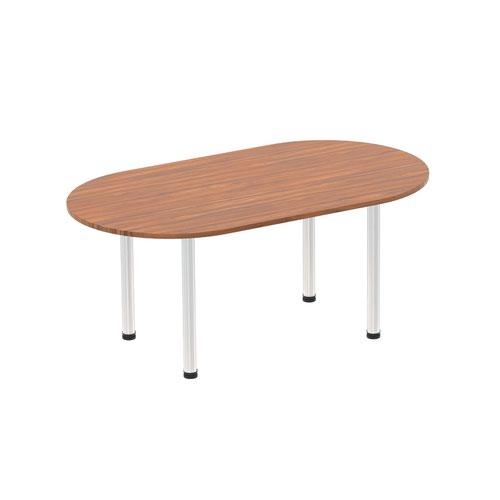 Impulse 1800mm Boardroom Table Walnut Top Brushed Aluminium Post Leg