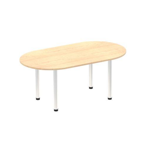 Impulse 1800mm Boardroom Table Maple Top Brushed Aluminium Post Leg