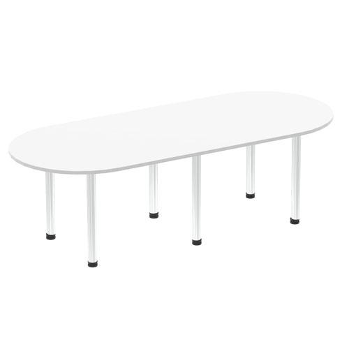 Impulse 2400mm Boardroom Table White Top Brushed Aluminium Post Leg