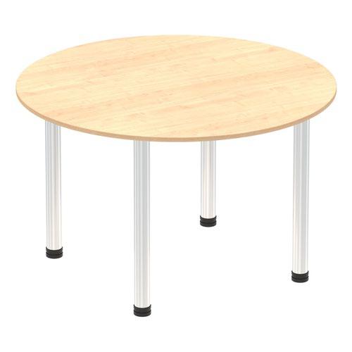 Impulse 1000mm Round Table Maple Top Chrome Post Leg