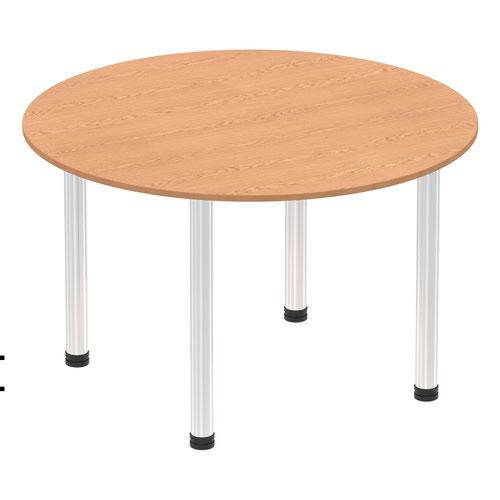 Impulse 1000mm Round Table Oak Top Chrome Post Leg