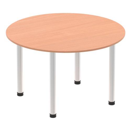 Impulse 1000mm Round Table Beech Top Brushed Aluminium Post Leg