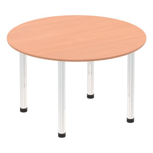 Impulse 1200mm Round Table Beech Top Chrome Post Leg